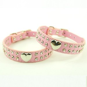 Namsan Pink Puppy Dog Pet Doggie Cats Leather Collars Necklaces With Lovely Heart Charm Bling...