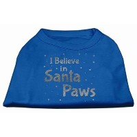 Mirage Pet Products 51-130 SMBL Screenprint Santa Paws Pet Shirt Blue Sm - 10