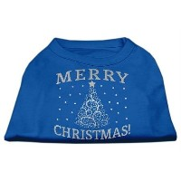 Mirage Pet Products 51-131 MDBL Shimmer Christmas Tree Pet Shirt Blue Med - 12