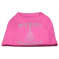 Mirage Pet Products 51-131 MDBPK Shimmer Christmas Tree Pet Shirt Bright Pink Med - 12