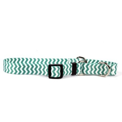 Chevron Lime Martingale Control Dog Collar - Size Small 14 Long - Made In The USA by Yellow Dog...