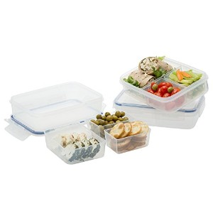 Komax Lunch Boxes Set of 3, with 3 Removable Compartments, Leak Proof, Microwave Freezer and...