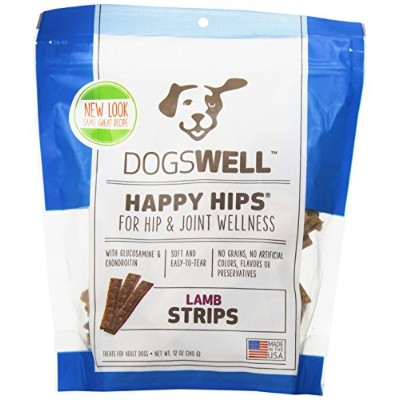 DOGSWELL Happy Hips Lamb Jerky Strips For Dogs All Natural Treat Snacks 12 oz