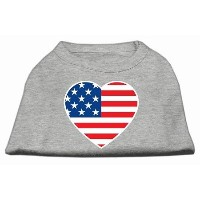 Mirage Pet Products 51-133 SMGY American Flag Heart Screen Print Shirt Grey Sm - 10