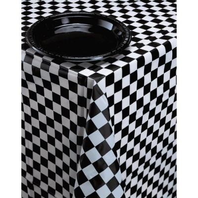 PLASTIC TABLECOVER AOP 54X108 1/12 BLACK & WHITE CHECK