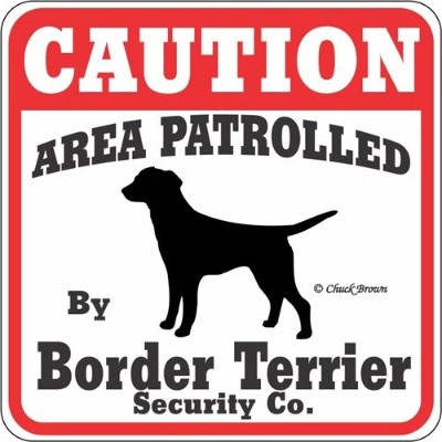 CAUTION AREA PATROLLED By Border Terrier Security Co. サインボード:ボーダーテリア [並行輸入品]
