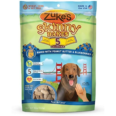 Zukes Skinny Bakes 5s Blueberries Peanut Butter Dog Biscuits Tasty Dog Treat 12z