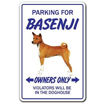 PARKING FOR BASENJI OWNERS ONLY サインボード:バセンジー オーナー専用 駐車スペース 標識 看板 MADE IN U.S.A [並行輸入品]