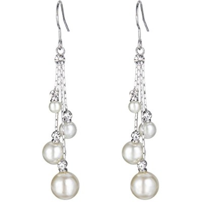 EleQueen Women's Crystal Simulated Pearl 4 Chain Bridal Long Dangle Hook Earrings Ivory Color