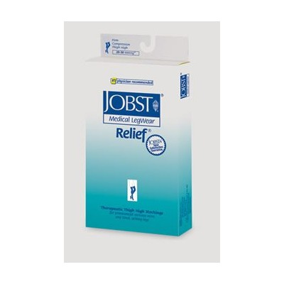 Jobst Relief Closed Toe Stockings Thigh High 20-30 mmHg - Black - XL - Silicone Dot Band -...