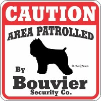 CAUTION AREA PATROLLED By Bouvier Security Co. サインボード:ブービエ 注意 警戒中 セキュリティ 看板 Made in U.S.A [並行輸入品]