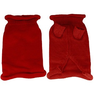Plain Knit Pet Sweater MD Red