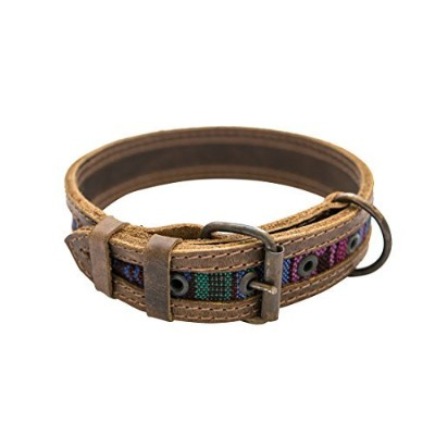 Rustic Mayan Dog Collar For Small Sizes Handmade by Hide & Drink :: Tropical Blue