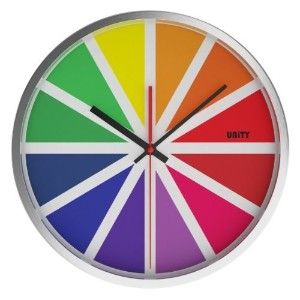 Unity Tabor Silent Sweep Non-Ticking Stainless Steel Color Wheel Wall Clock, 12-Inch, Multicolor by...