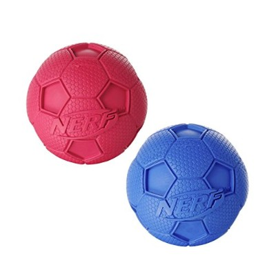 Nerf Dog (2-Pack) Soccer Squeak Ball Dog Toy, Red/Blue, Small [並行輸入品]