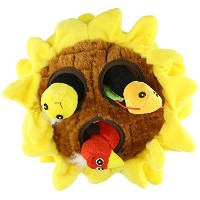 Multipet Sunflower Plush Hideaway Puzzle Dog Toy with Plush Birds and Bees Squeak Toys [並行輸入品]