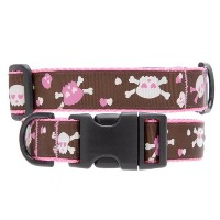 Max & Zoey Skull Dog Collar, Small, Brown [並行輸入品]