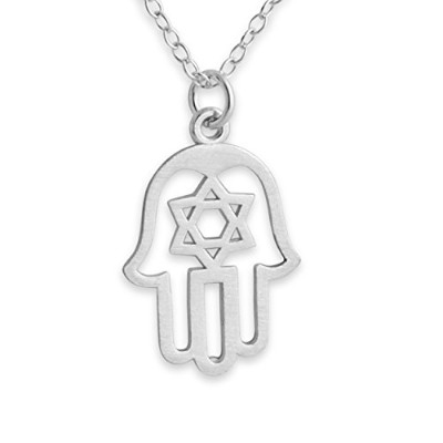 925 Sterling Silver Judaica Hamsa Charm Pendant Necklace (22 Inches)