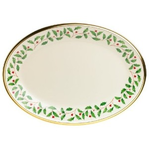 Lenox Holiday 13インチgold-banded Fine China Oval Platter