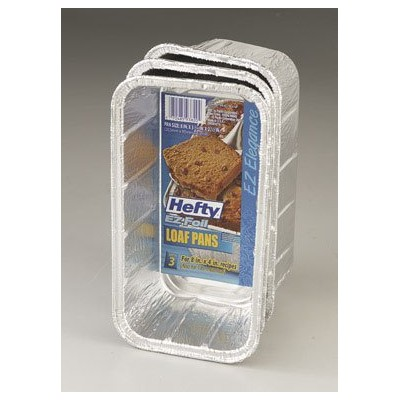 93820 Hefty EZ Foil Aluminum Rectangular Medium Loaf Pan 8x3.75x2.5 12-3/cs by E-Z Foil