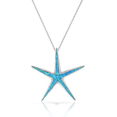 925 Sterling Silver Blue Turquoise-Tone Simulated Opal Large Statement Starfish Pendant Necklace