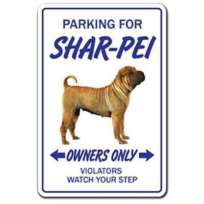 PARKING FOR SHAR-PEI OWNERS ONLY サインボード:シャーペイ オーナー専用 駐車スペース 標識 看板 MADE IN U.S.A [並行輸入品]
