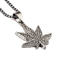 MCSAYS ヒップホップ ファッション hiphop ネックレス タバコ ネックレス Weed Herb Charm Necklace With Rhinestone Small Leaf...