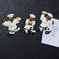Refrigerator MAGNET 3pc Assorted Magnets BLACK WAITER CHEF/AUNT JEMIMA by ACK