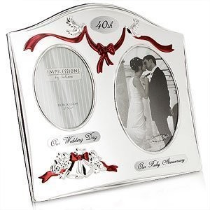 Two Tone Silverplated Wedding Anniversary Gift Photo Frame - 40th Ruby Anniversary by Juliana