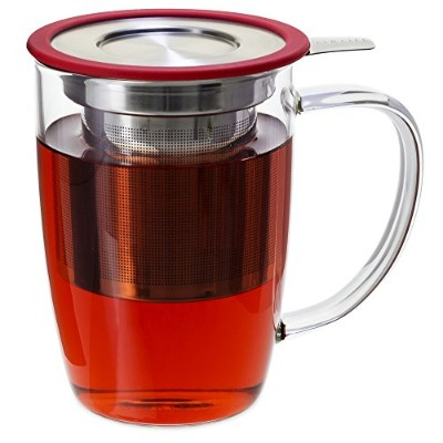 FORLIFE NewLeaf Glass Tea 16-Ounce Mug with Infuser and Lid, Red by FORLIFE