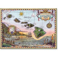 Hawaiian Art Collectible Refrigerator Magnet - Map of Old Hawaii by Pacifica Island Art