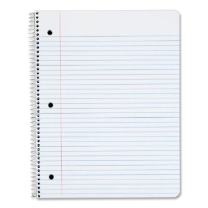Wirebound 1-Subject Notebook, College Rule, 11 x 8-1/2, White, 100 Sheets/Pad (並行輸入品)