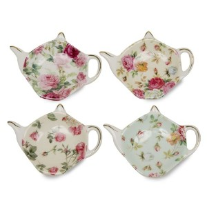 Gracie China Rose Chintz 4-Inch Tea Bag Holder, Set of 4 by Gracie China by Coastline Imports
