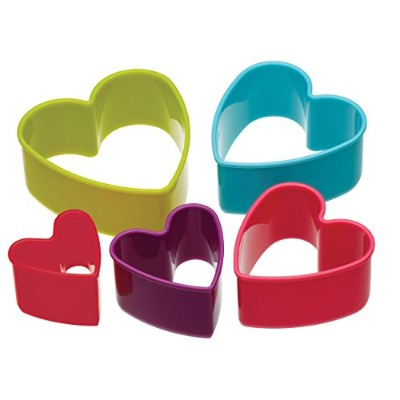 Colourworks Five Piece Heart Shaped Cookie Cutters Mix Colours with Storage Box