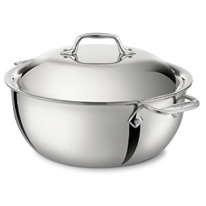 All-Clad 4500 Stainless Steel Tri-Ply Bonded Dishwasher Safe Dutch Oven with Domed Lid / Cookware,...