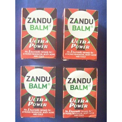 4 X Zandu Balm Ultra Power Balm Multipurpose Solution for Strong Headache Body Ache and Cold 8ml X...