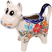 Polish Pottery Ceramika Boleslawiec, 0501/238, Creamer Cow, 1/3 Cup, Royal Blue Patterns with Red...