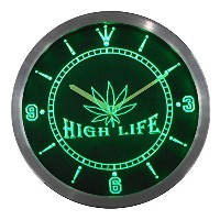 LEDネオンクロック 壁掛け時計 nc0039-g Marijuana Hemp Leaf High Life Bar Neon Sign LED Wall Clock