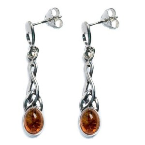 Honey Amber Sterling Silver Small Oval Celticイヤリング