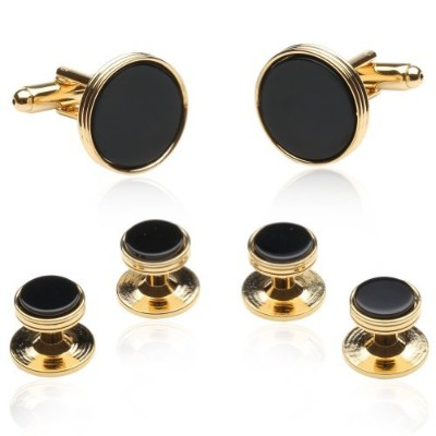 オニキスとゴールドCufflinks and Studs Cuff - Daddy