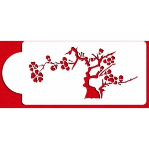 Designer Stencils C445 Blooming Cherry Tree Tier 5 Cake Stencil, Beige/semi-transparent by Designer...