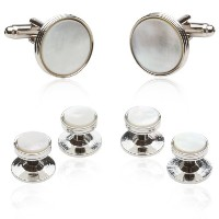 Cuff - Daddy Mother of Pearl Cufflinks and Studsタキシードフォーマルプレゼンテーションボックスセット