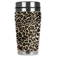 Mugzie Small Leopard Spots Travel Mug with Insulated Wetsuit Cover, 16 oz, Black by Mugzie