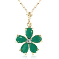 "K14 Solid Gold 18"" Necklace with Emeralds and Diamond Flower Pendant"