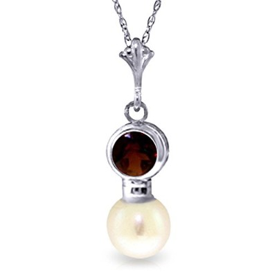 """K14 White Gold 18"""" Garnet Necklace with Freshwater-cultured Pearl Pendant"""