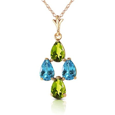 """K14 Yellow Gold 18"""" Necklace with Pear-shaped Peridots and Blue Topaz"""