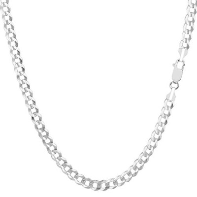 14k White Gold Comfort Curb Chain Necklace, 3.6mm, 24""
