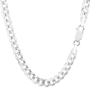 14k White Gold Comfort Curb Chain Necklace, 5.7mm, 24""