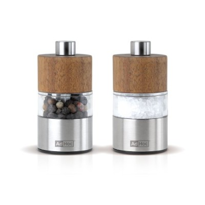 Adhoc David Acacia and Stainless Steel Pepper Mill Set, 2.5-Inch by AdHoc