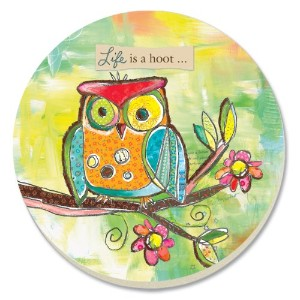 CounterArt Decorative Absorbent Coasters, Life's a Hoot, Set of 4 by CounterArt